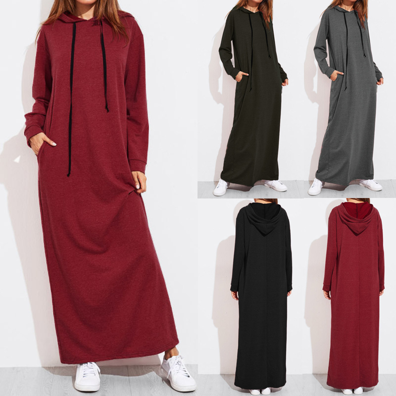 Casual Women Solid Color Full Sleeve Long Hooded Sweatshirt Dress