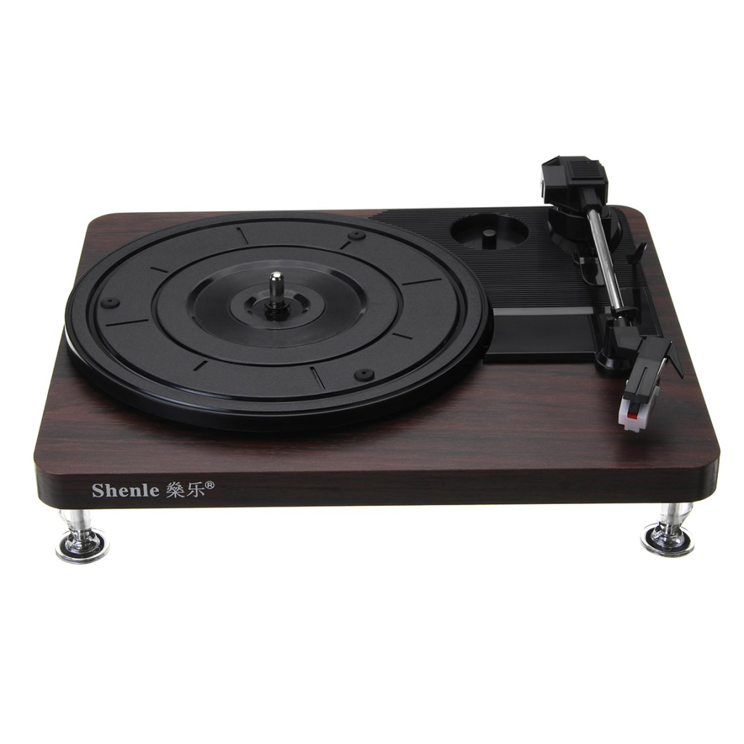 Shenle 33RPM Antique Gramophone Turntable Disc Vinyl Wood Record Player RCA R/L 3.5mm Output USB 28