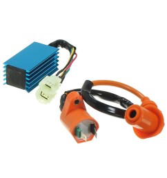 ignition coil with 6 pin racing performance ac cdi box for gy6 50cc 150cc scooter [ 1200 x 1200 Pixel ]