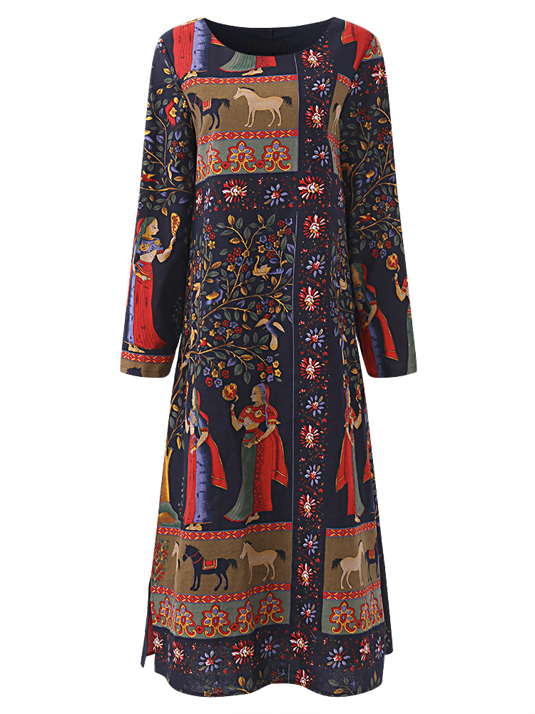 Gracila Ethnic Printed Layered O-neck Long Sleeve Women Dress