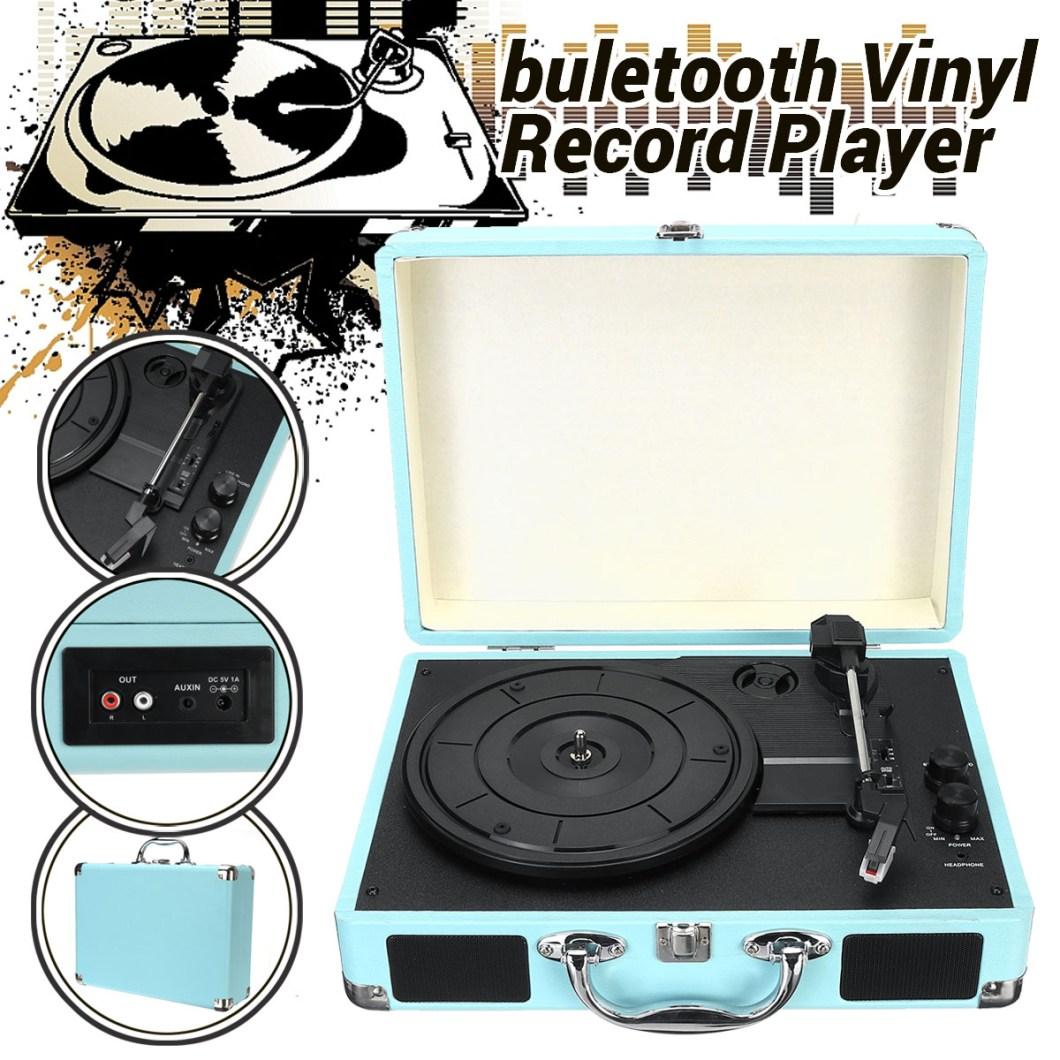 B32603 bluetooth Wireless 3 Speed Vinyl Record Player Turntable Retro 2 Speakers Case 18