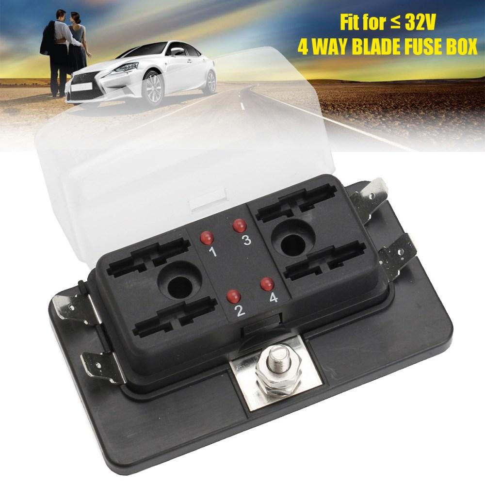 medium resolution of 12v 24v 4 way blade car fuse box holder with led failure warning lights
