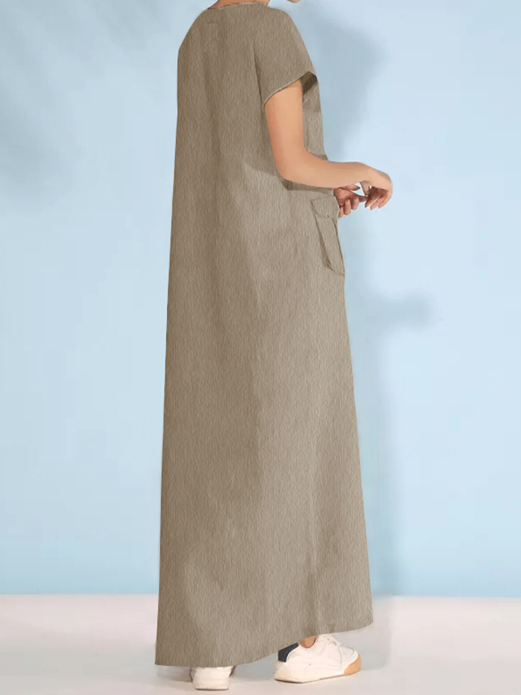 Women Asymmetric V Neck Casual Short Sleeve Maxi Dress