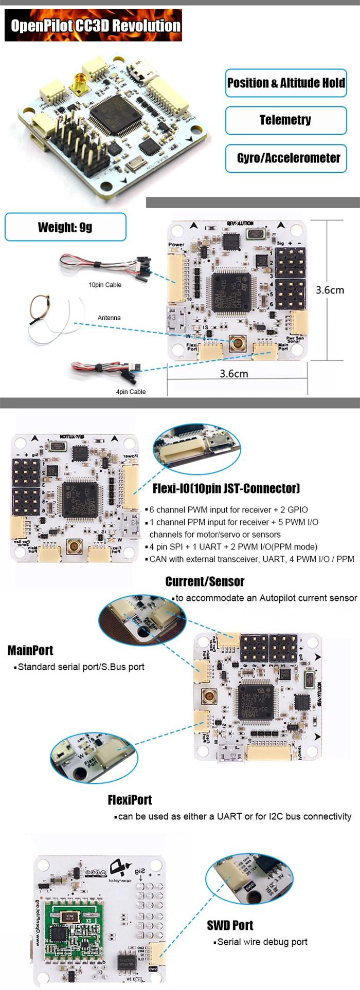 medium resolution of openpilot cc3d revolution flight controller oplink m8n gps distribution board for rc drone