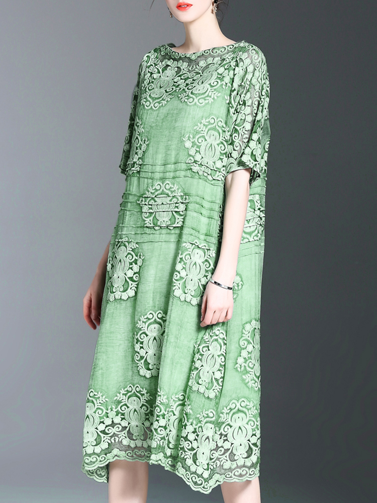 Elegant Floral Embroidery Loose Half Sleeve Mid-long Dress