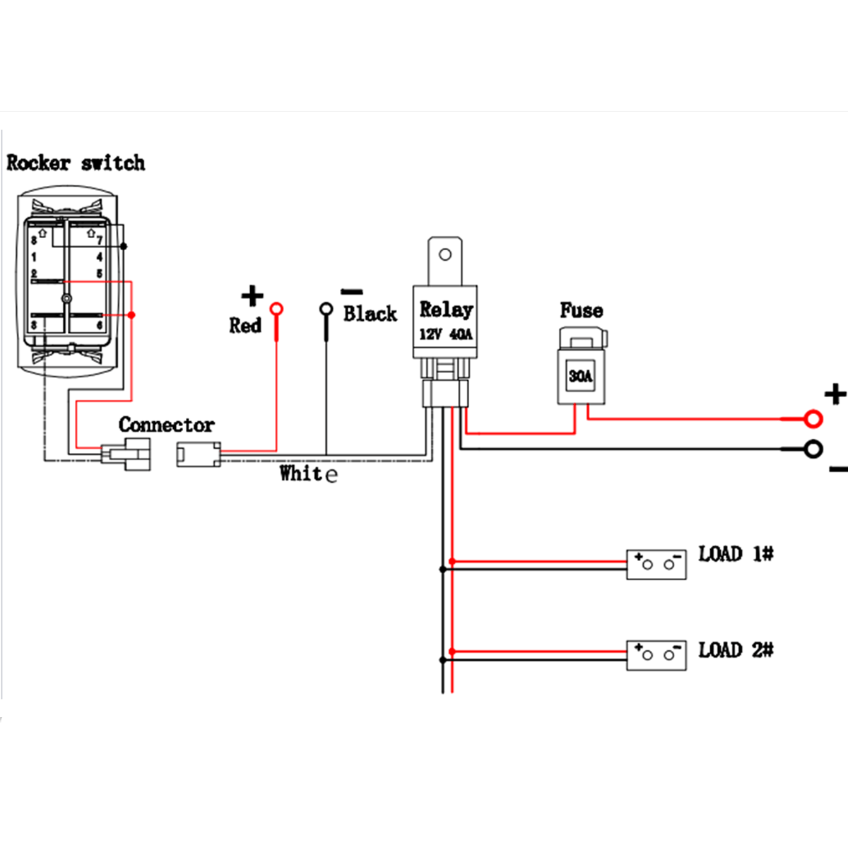 hight resolution of 12v switch and relay wiring data wiring diagram preview 12v 40a led fog light wiring harness