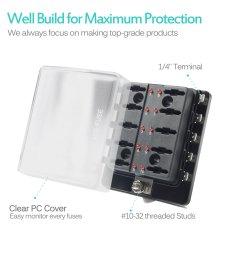 10 way blade fuse holder box 32v led illuminated automotive fuse block [ 1500 x 1500 Pixel ]