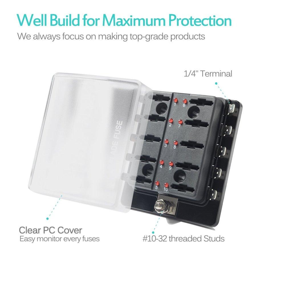 medium resolution of 10 way blade fuse holder box 32v led illuminated automotive fuse block