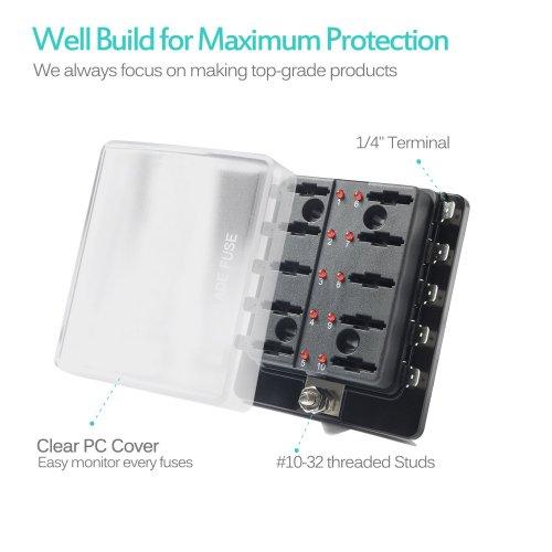 small resolution of 10 way blade fuse holder box 32v led illuminated automotive fuse block
