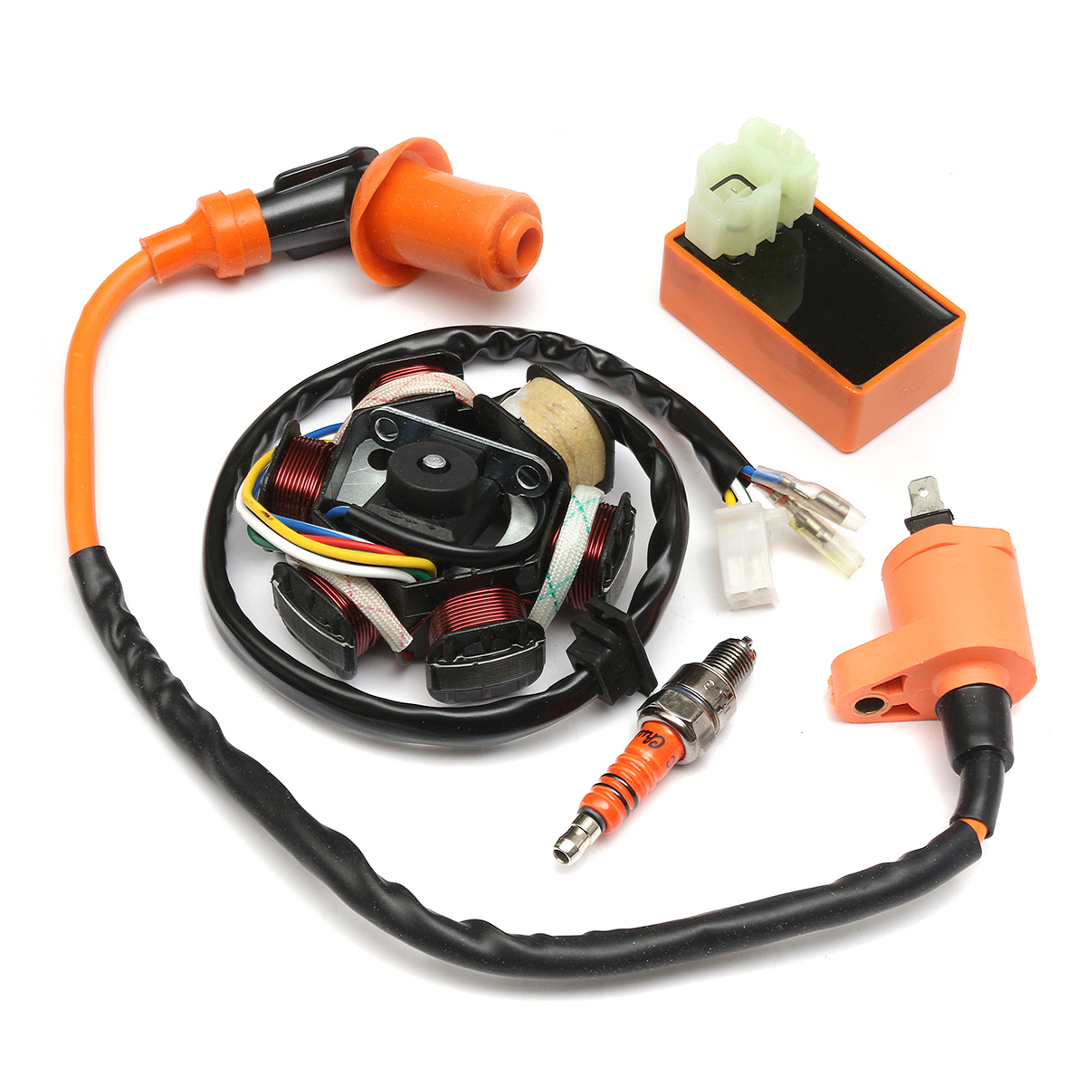 hight resolution of 49cc 50cc gy6 scooter racing ignition coil cdi spark plug moped magneto stator