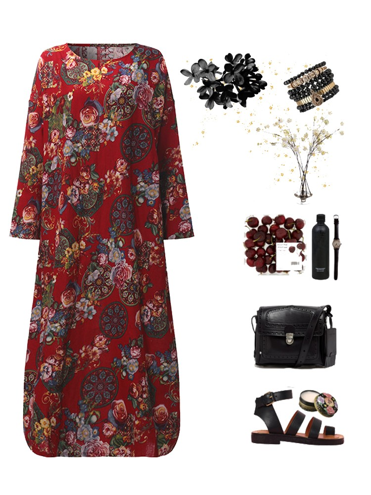 Floral Print Dress Loose Casual Long Sleeve Maxi Dresses For Women