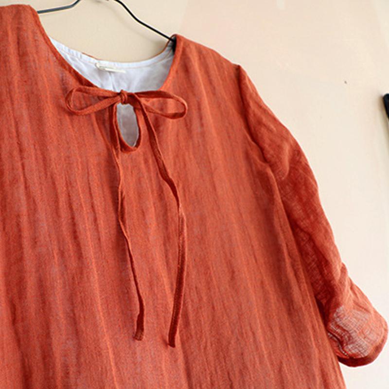 S-4XL Women Vintage Half Sleeve Solid Swing Maxi Dress