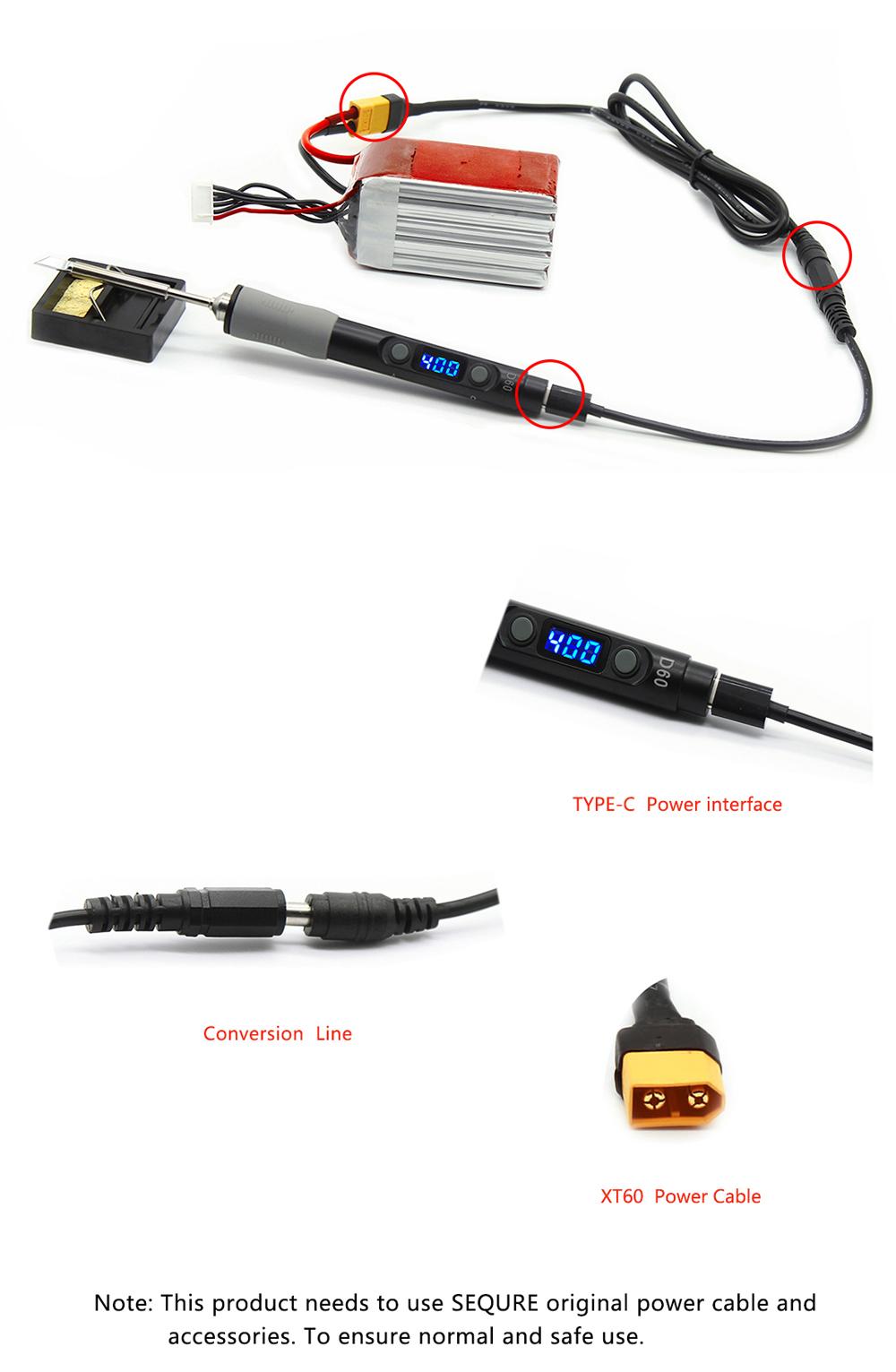 Sq-d60 60w digital soldering iron station dc12-24v type-c