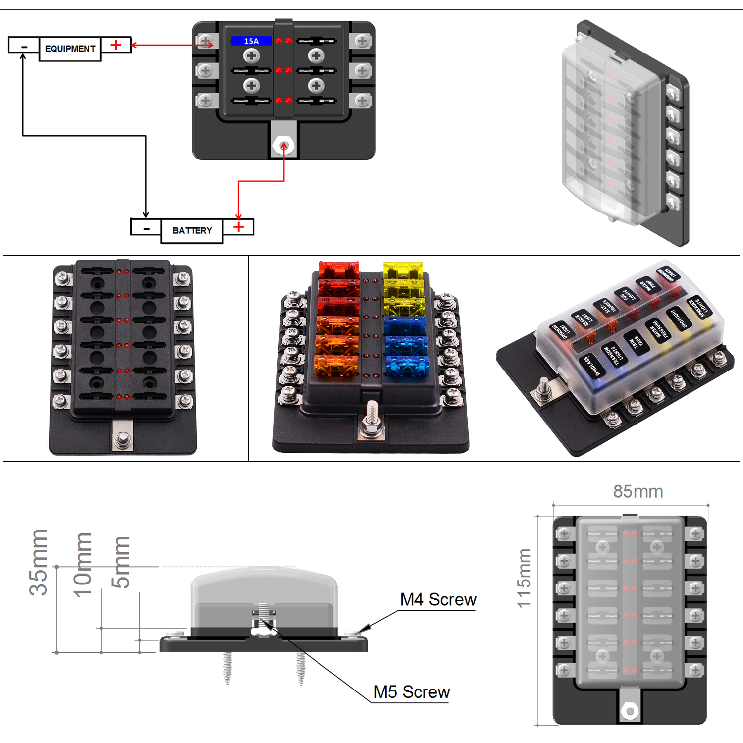 hight resolution of imars 12 way fuse box 12v 32v circuit standard blade block holder kit car caravan