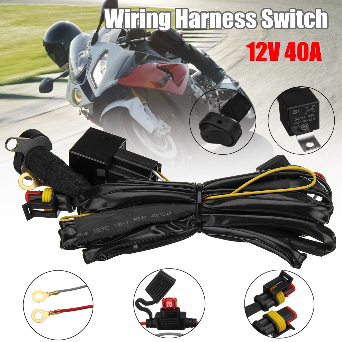 hight resolution of 12v wiring harness switch for bmw r1200gs f800gs adv 12v 40a led fog lights