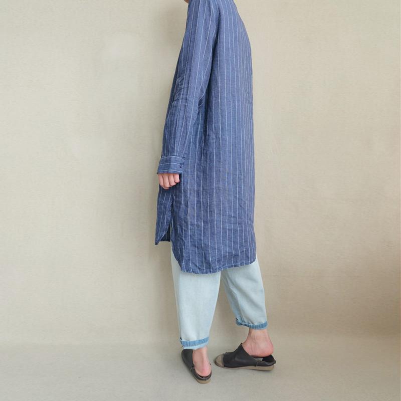 Women Long Sleeve Stripe Button Loose Casual Shirt Dress