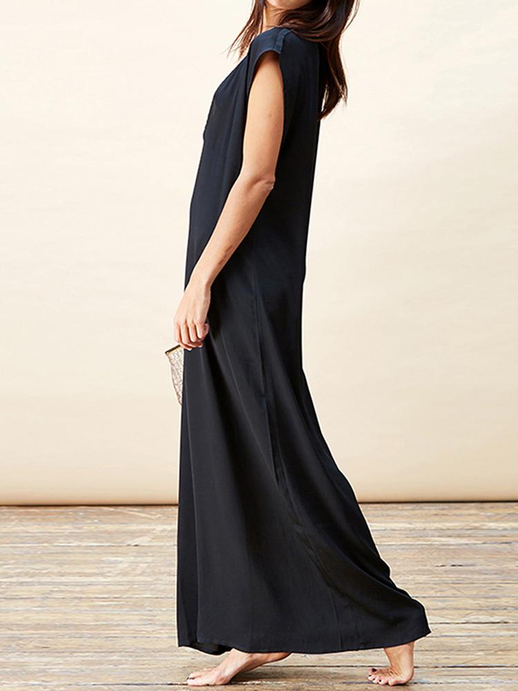 Women Sexy Deep V Neck Sleeveless Party Long Maxi Dress