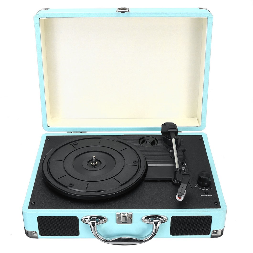 Vintage Vinyl LP Record Player Stereo Turntable 3Speed 2 Speakers Radio Recorder 33