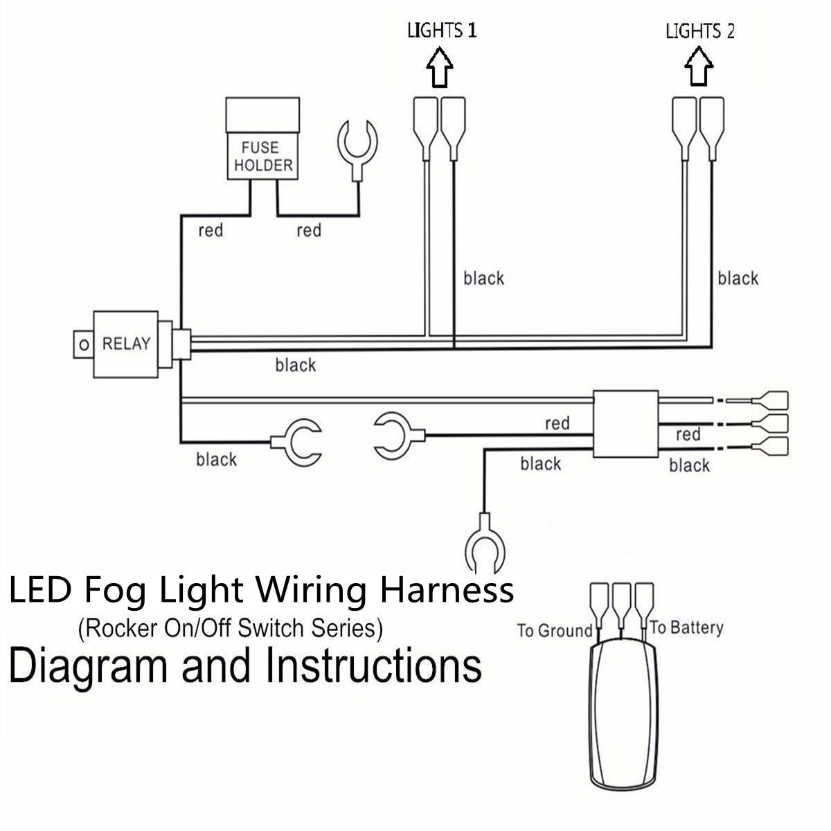 hight resolution of 12v 40a led fog light wiring harness laser rocker switch relay fuse kit