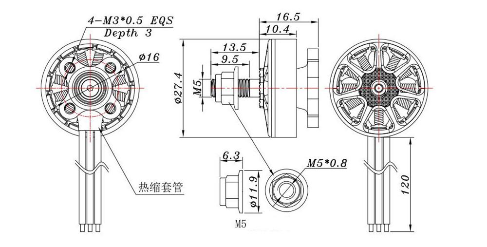 Sunnysky E-R2204 2204 2300KV 3-4S Brushless Motor for RC