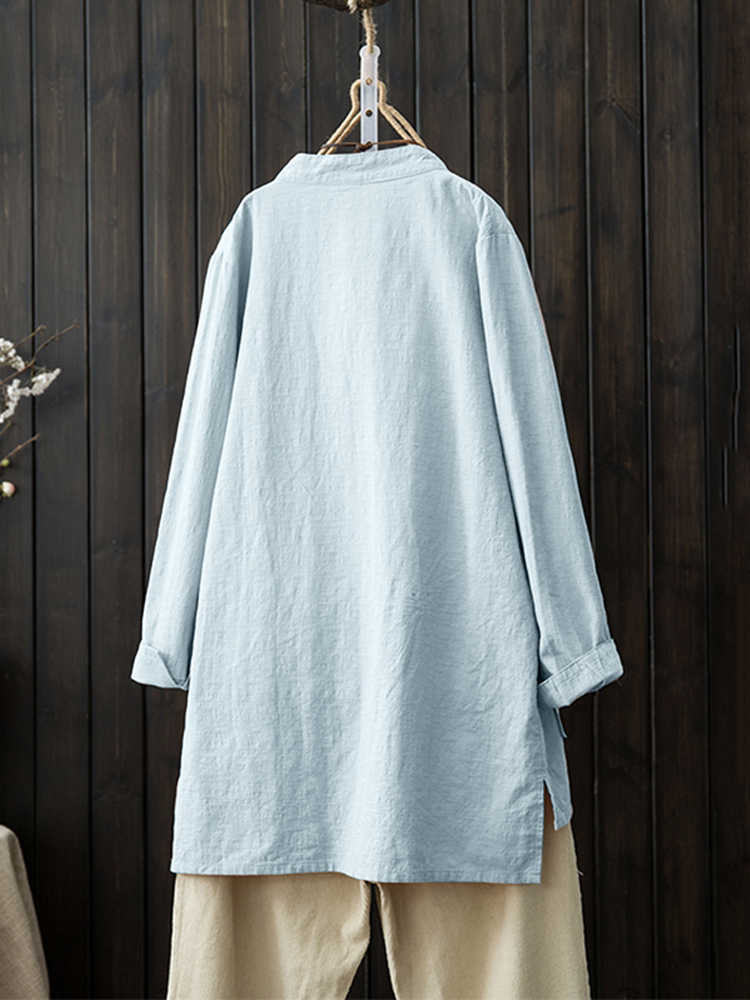 Vintage Long Sleeve Buttons Down Stand Collar Blouse