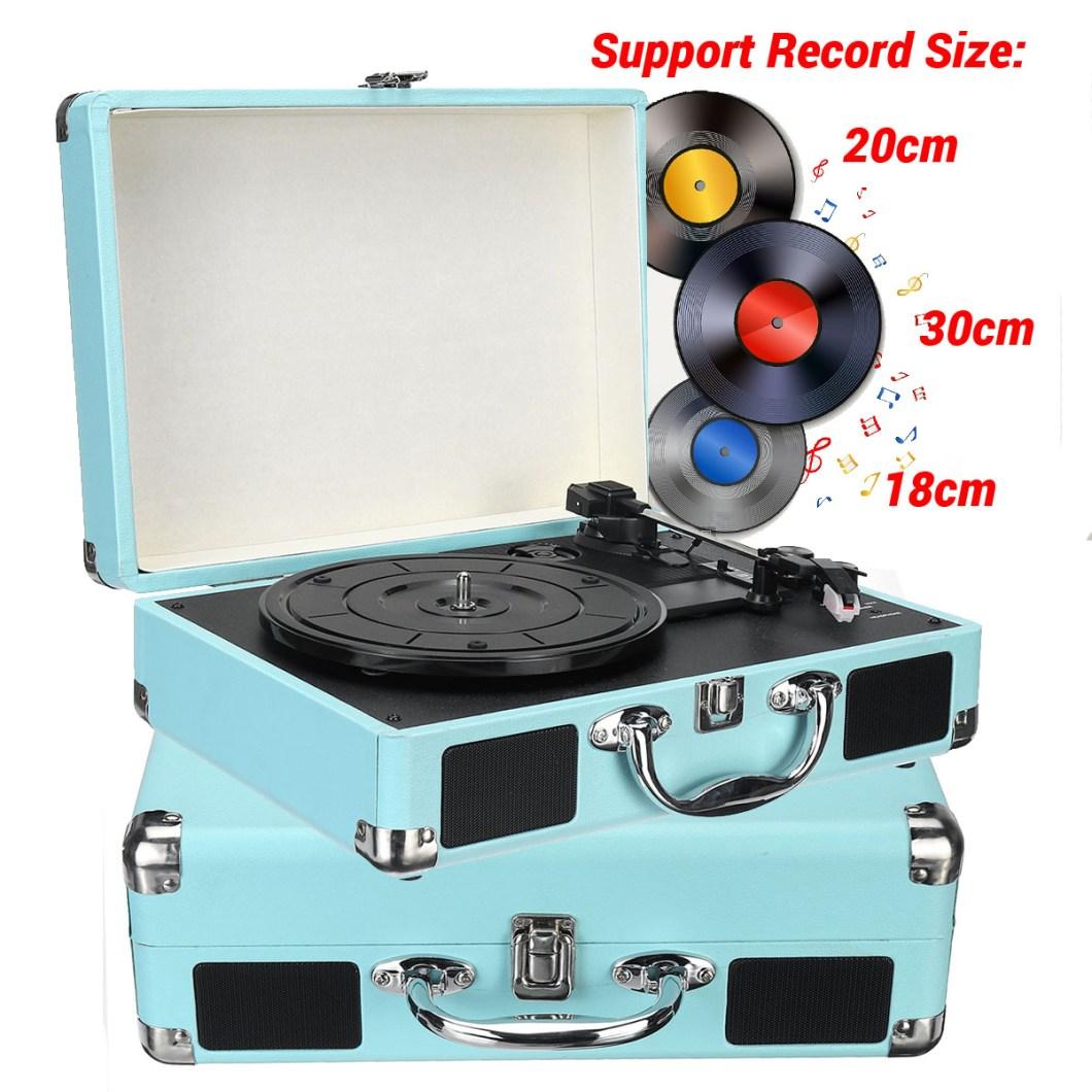 B32603 bluetooth Wireless 3 Speed Vinyl Record Player Turntable Retro 2 Speakers Case 20