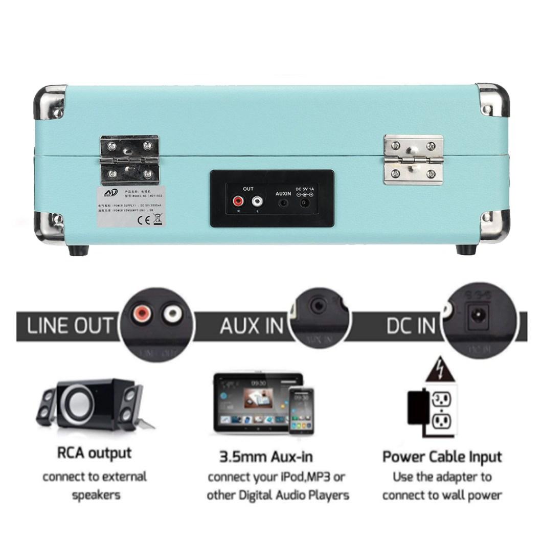 B32603 bluetooth Wireless 3 Speed Vinyl Record Player Turntable Retro 2 Speakers Case 21