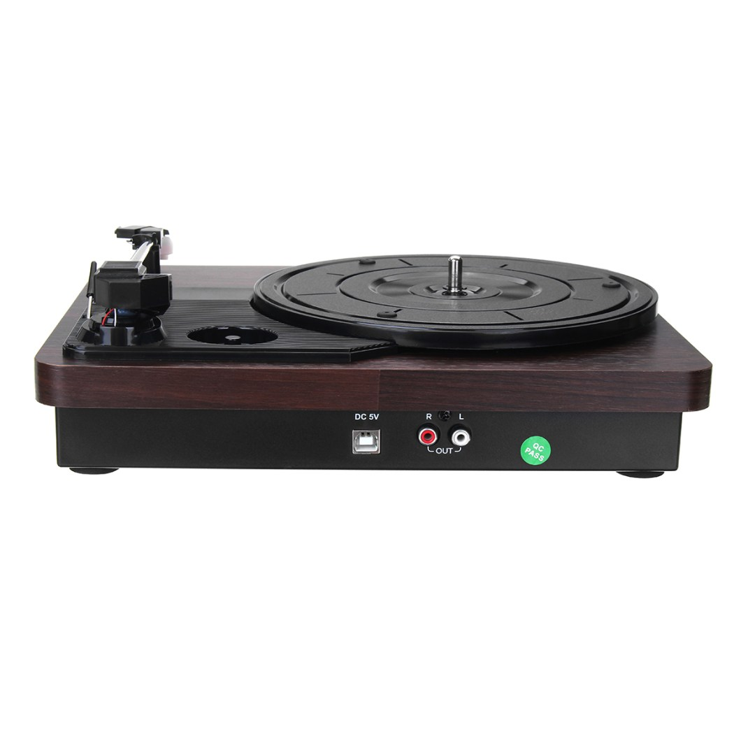 Shenle 33RPM Antique Gramophone Turntable Disc Vinyl Wood Record Player RCA R/L 3.5mm Output USB 29