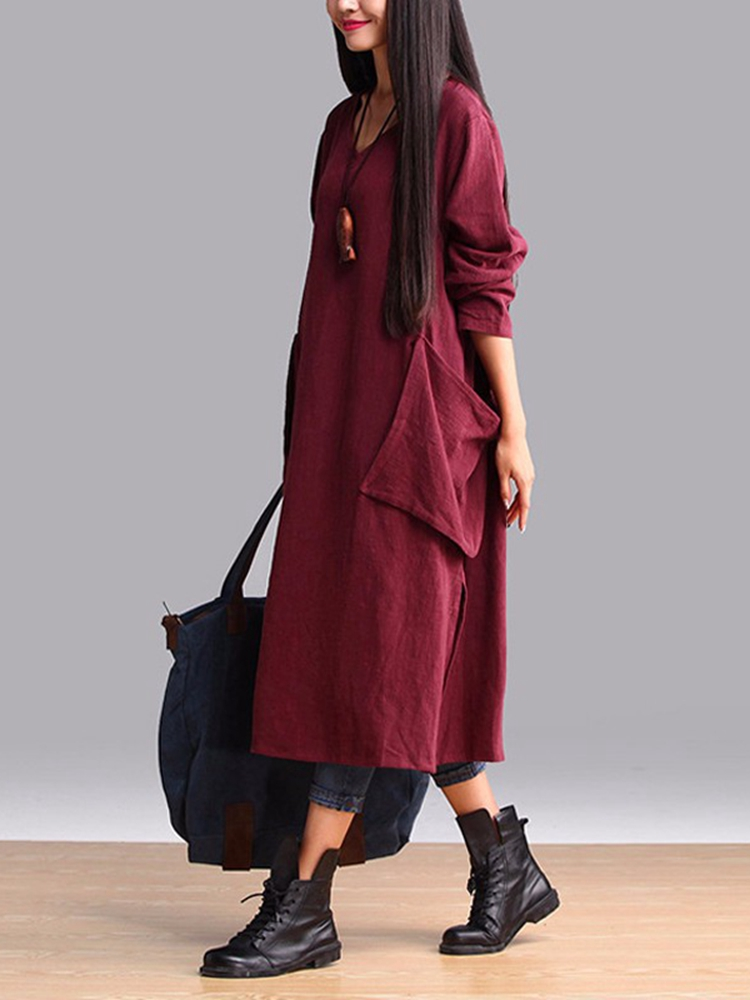Casual Loose Long Sleeve V-Neck Pure Color Dress With Big Pockets
