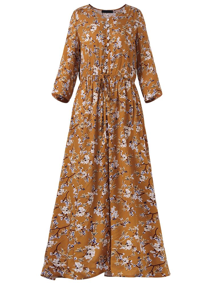 Gracila Bohemian Floral Printed Loose 3/4 Sleeve Maxi Dresses