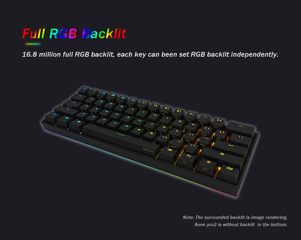 [Kailh BOX Switch]Obins Anne Pro 2 60% NKRO bluetooth 4.0 Type-C RGB Mechanical Gaming Keyboard 17