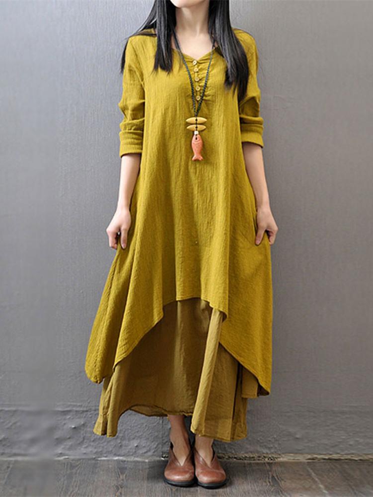 S-5XL Women Long Sleeve Double Layers Button Asymmetric Vintage Maxi Dress