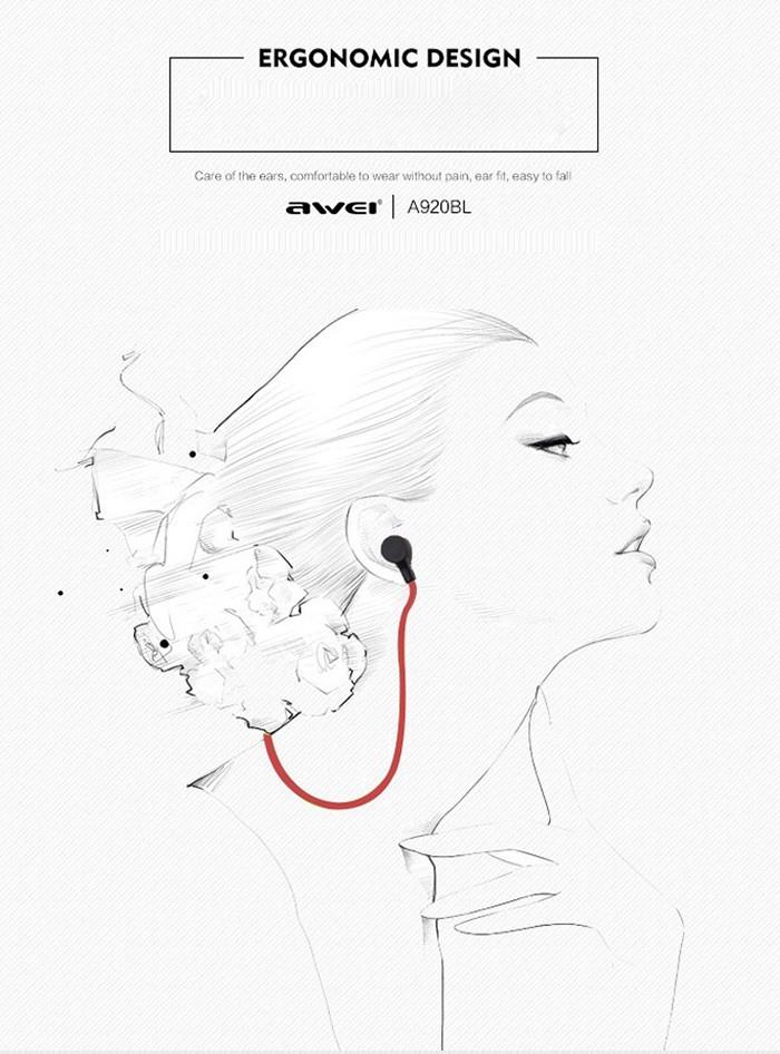 Awei a920bl wireless sport bluetooth 4.0 stereo in-ear
