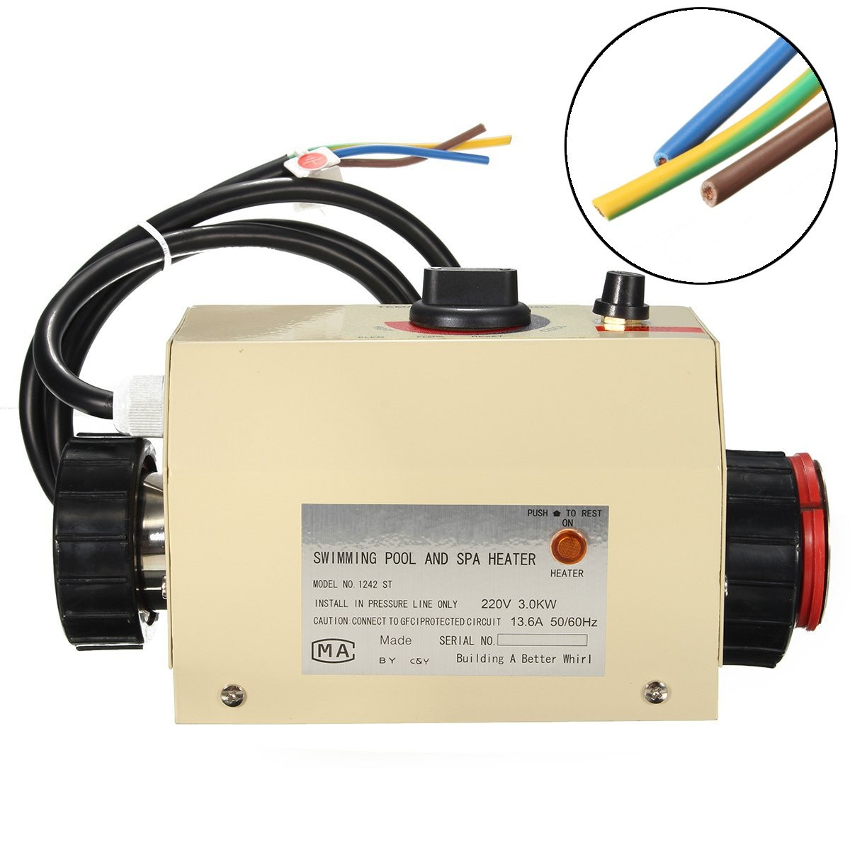 hight resolution of coasts 3kw 220v swimming pool spa hot tub electric water heater thermostat