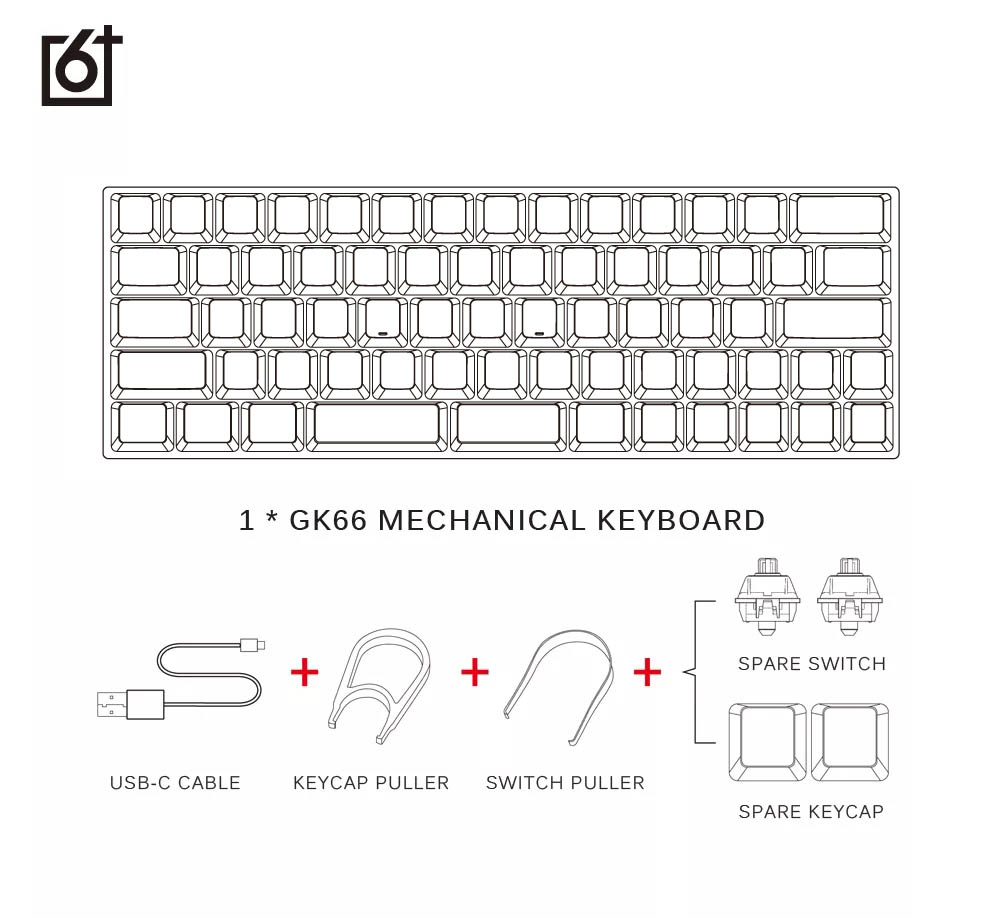 gk66 usb-c wired split-spacebar hot-swappable gateron