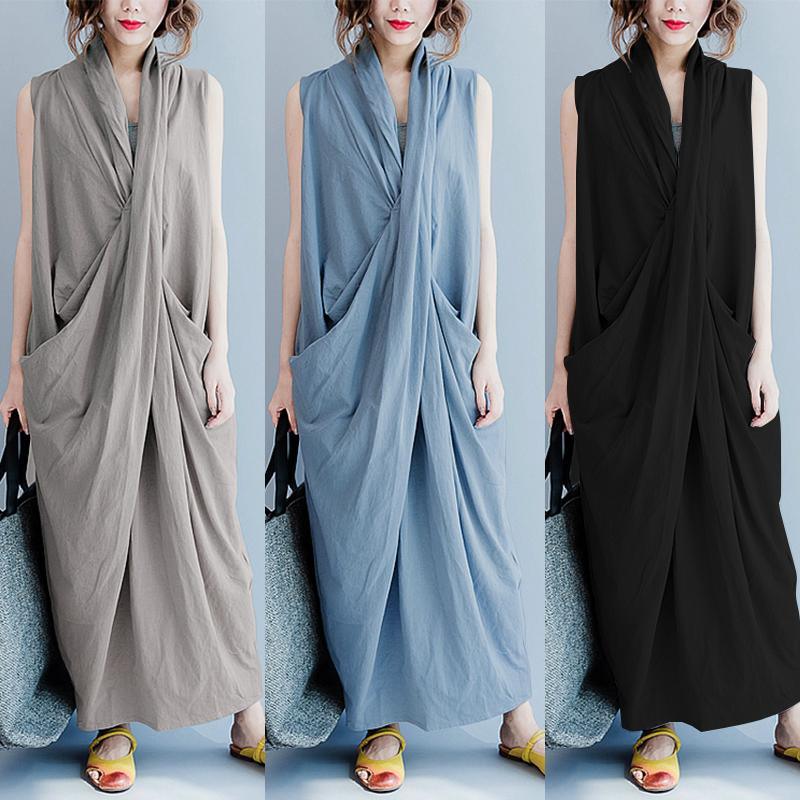 Women Sleeveless V Neck Pure Color Maxi Dress