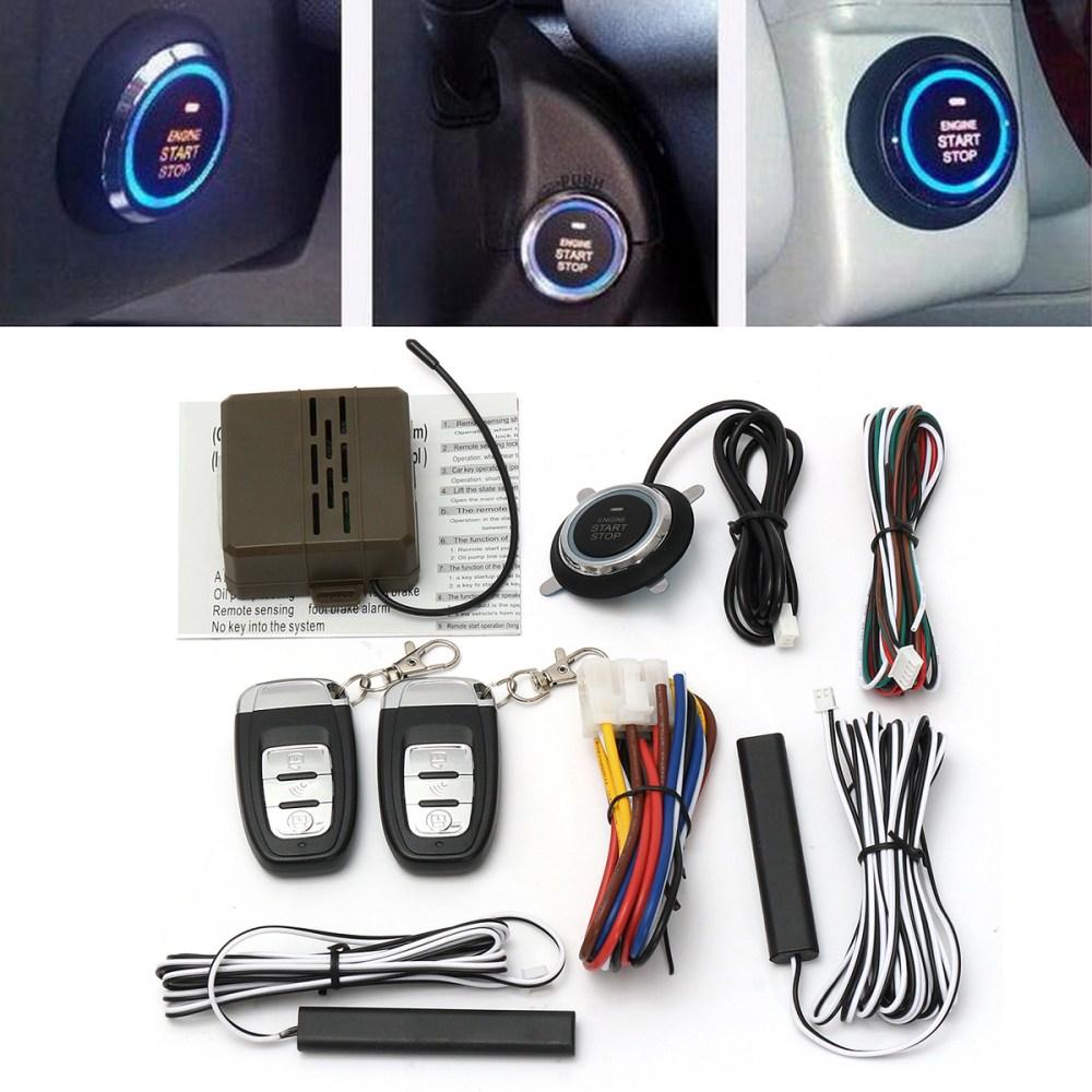 medium resolution of 8pcs car alarm start engine system pke keyless entry remote start push button