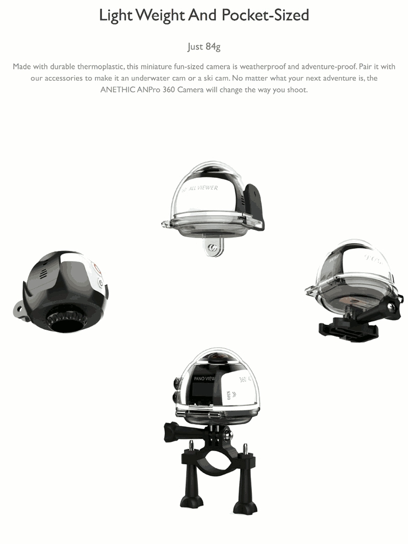 xanes 360° mini wifi panoramic video camera 2448p 30fps