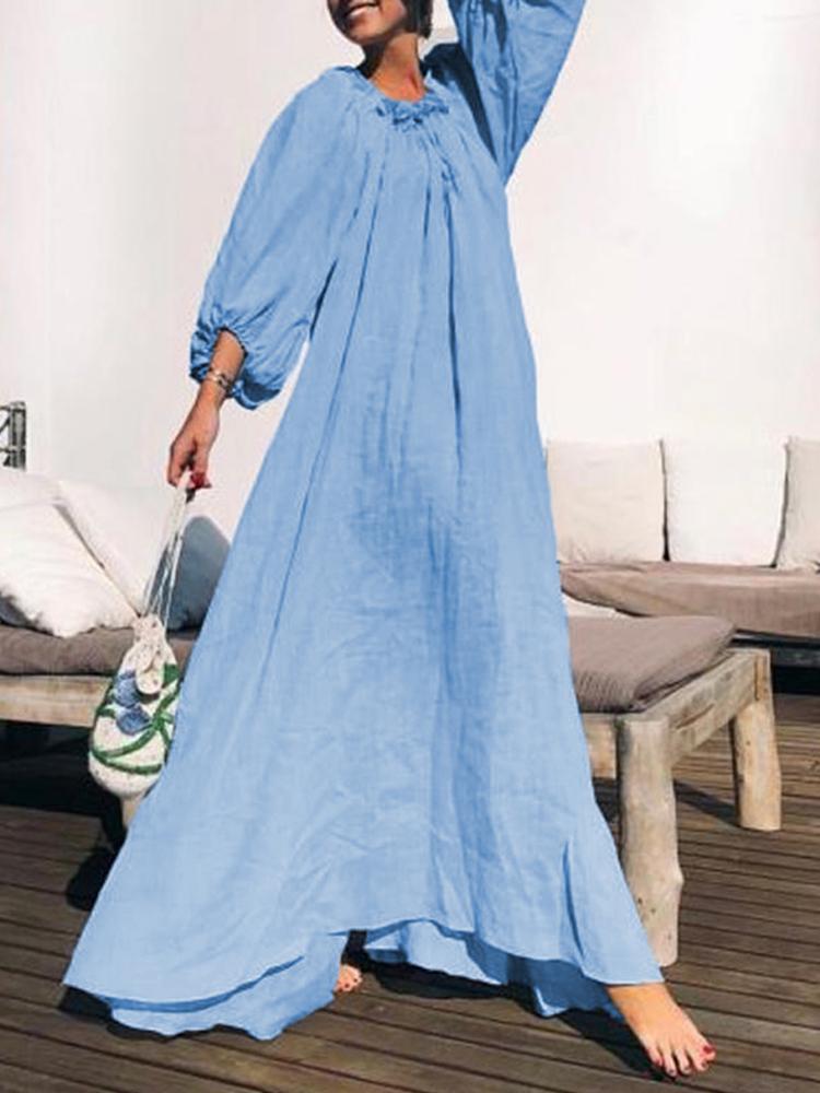 Women Vintage Solid Color Loose Baggy Swing Long Maxi Dress