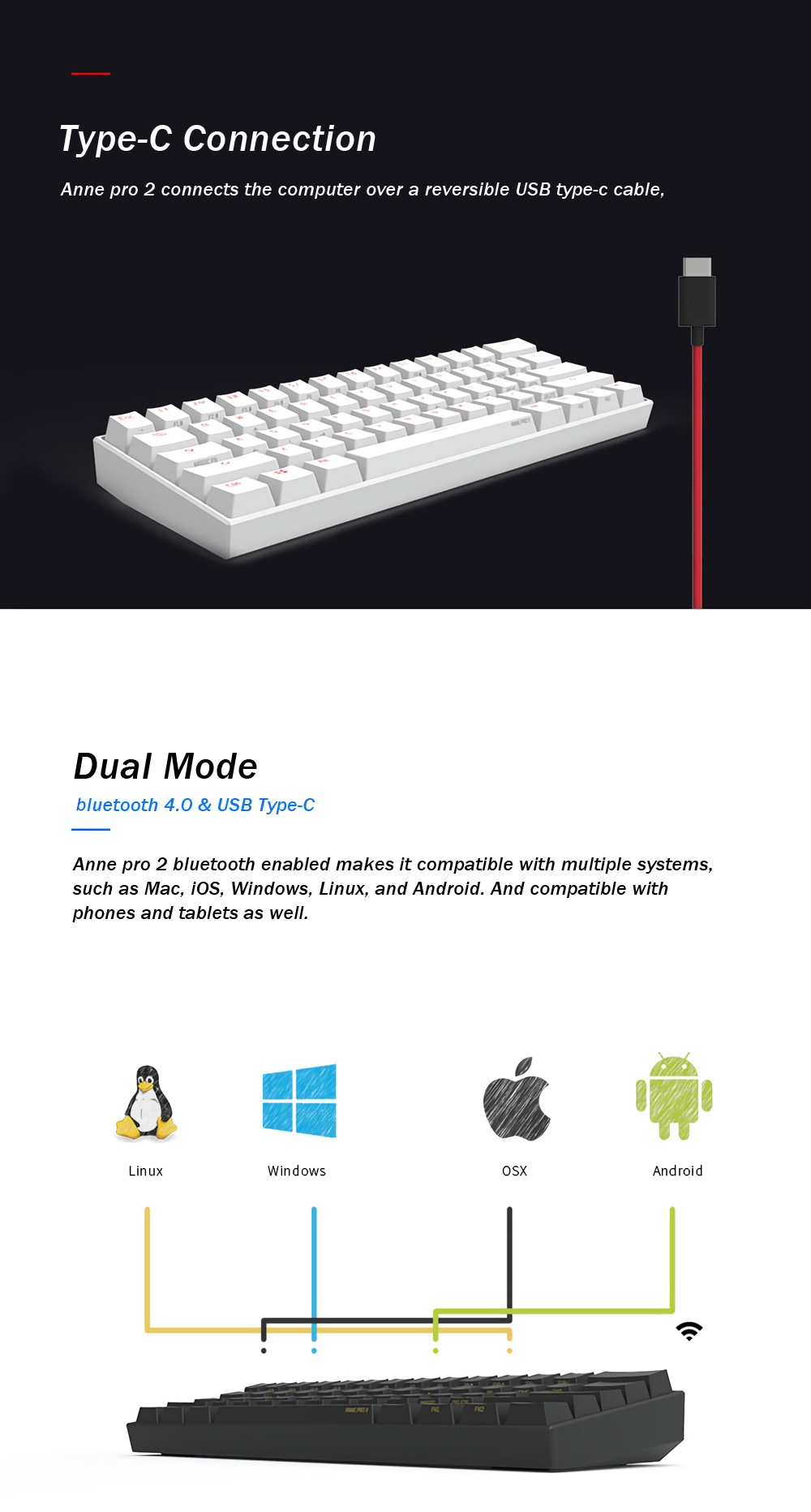 [Kailh BOX Switch]Obins Anne Pro 2 60% NKRO bluetooth 4.0 Type-C RGB Mechanical Gaming Keyboard 14