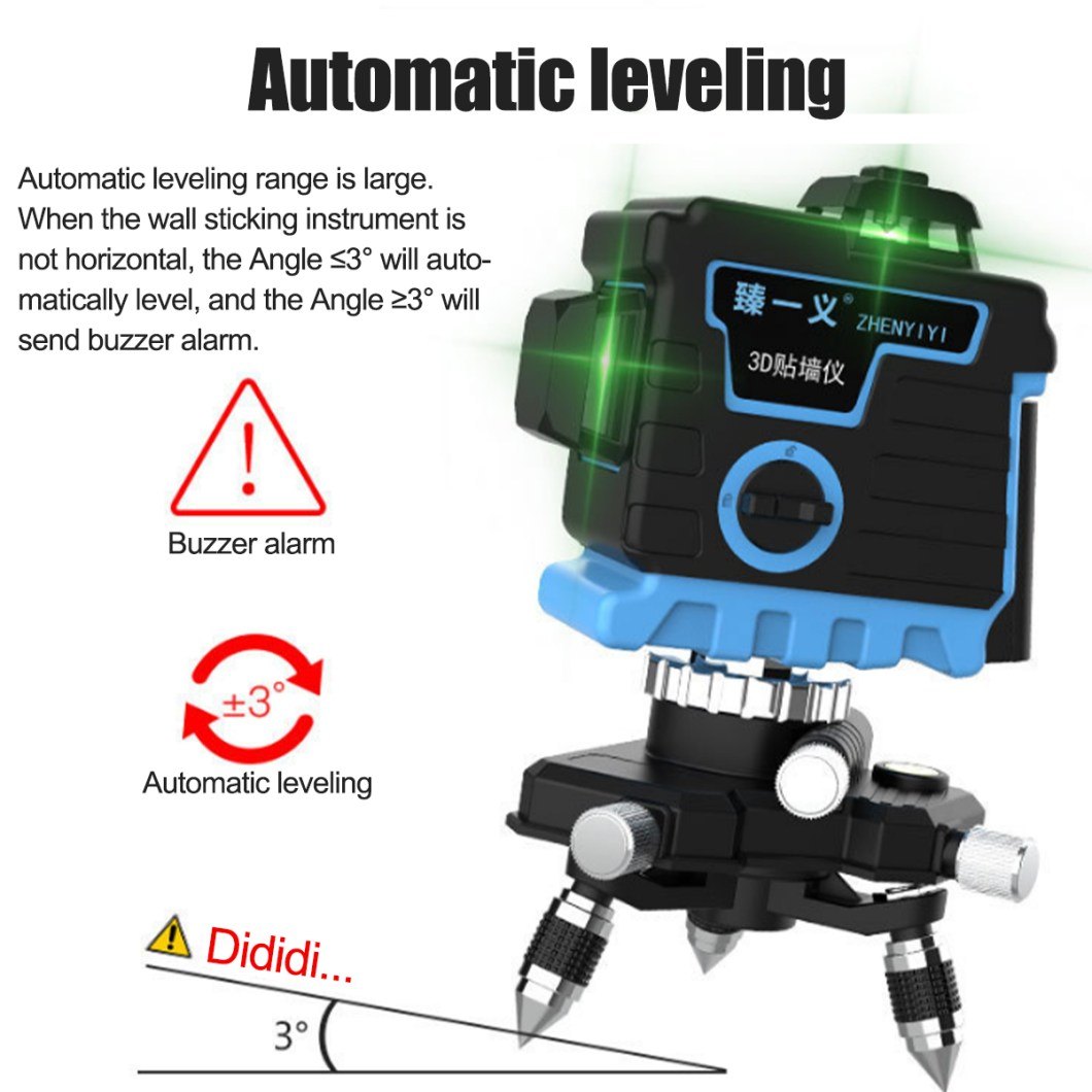 3D 12 Cross Line Laser Line Laser Spirit Level Automatic Self Leveling 25