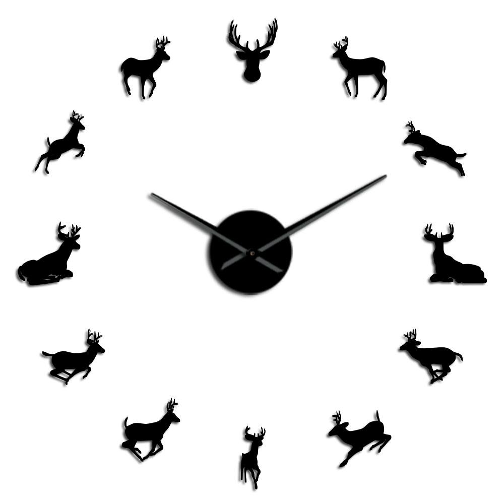 47 Inch Deer Head DIY Giant Wall Clock Woodland Deer