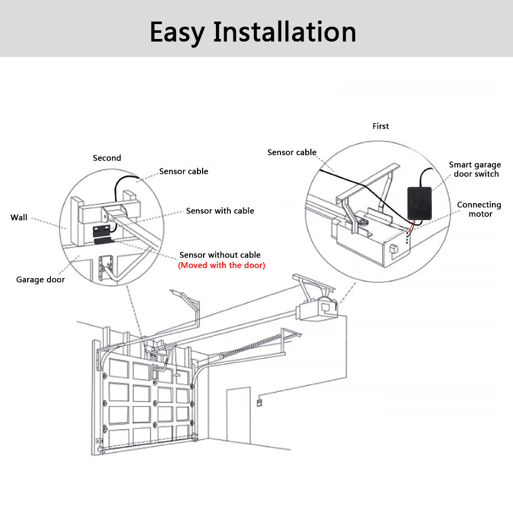 smart electric garage door wifi timing opener switch app