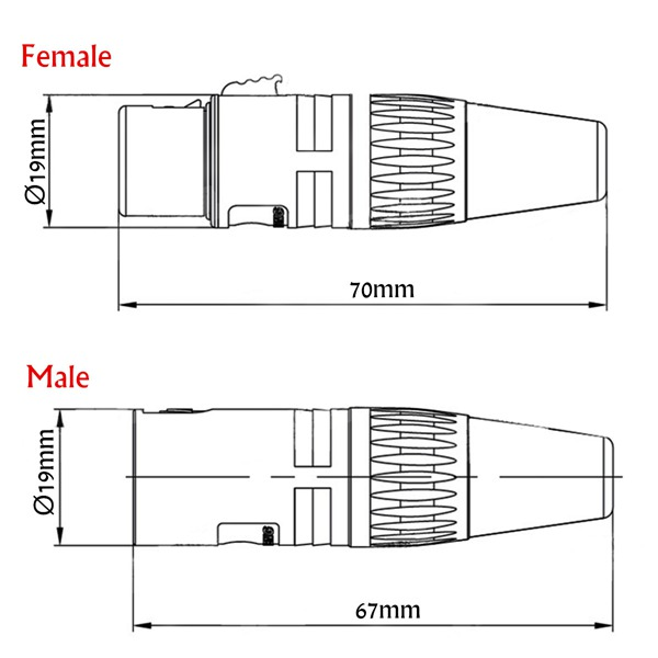 male and female 3-pin xlr microphone audio cable plug