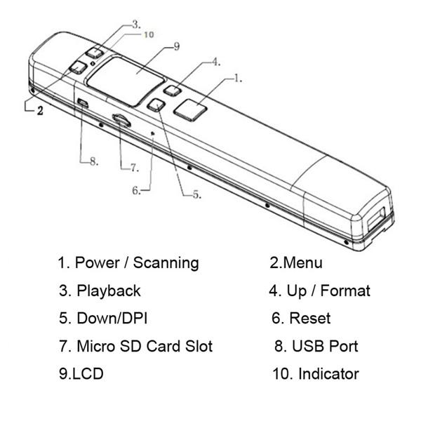 portable color scanner black / white multifunction 1050dpi