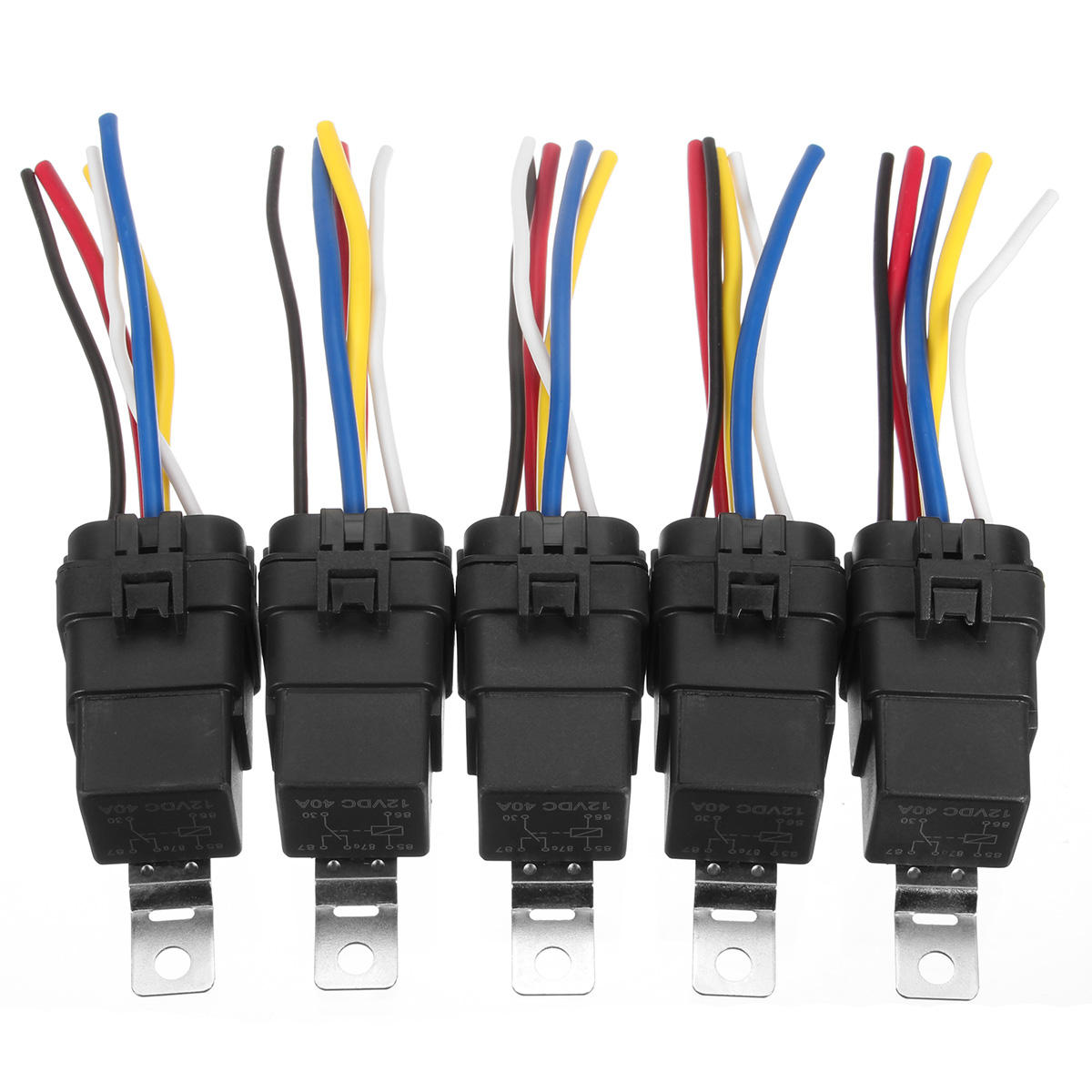 hight resolution of 5 pcs automotive relay switch harness 12awg wires waterproof 40 30amp 12vdc