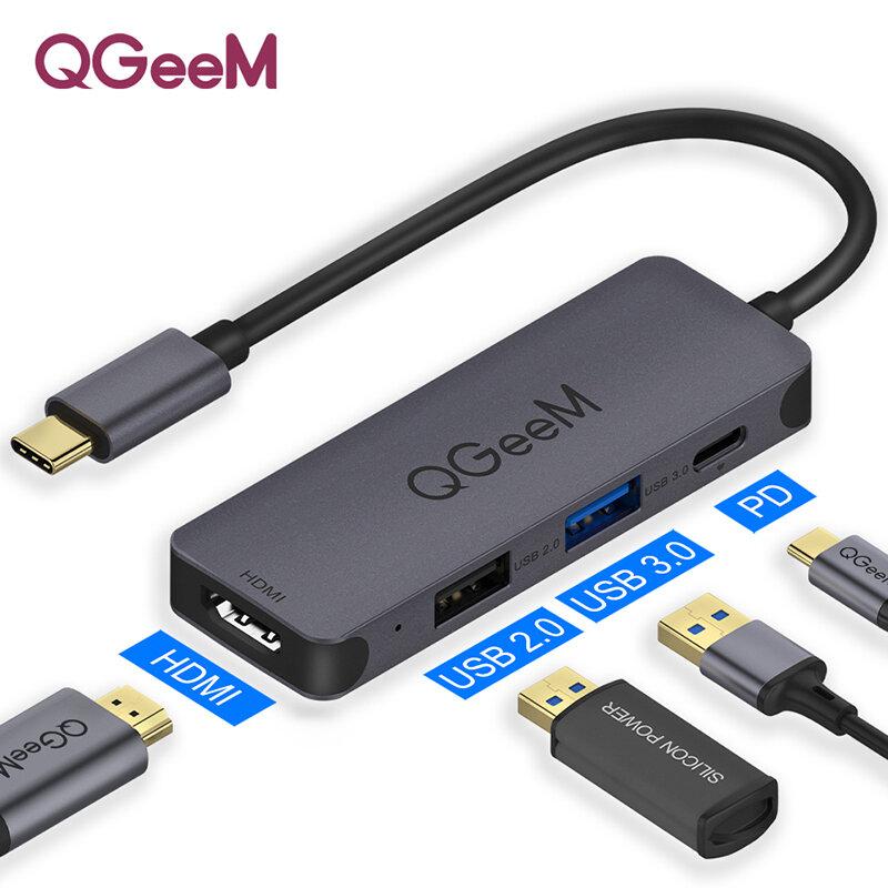 QGEEM 4-in-1 USB-C HUB Docking Station Adapter Splitter With 100W USB-C PD3.0 Power Delivery / USB 2.0 / USB 3.0 / 4K HDMI HD Display