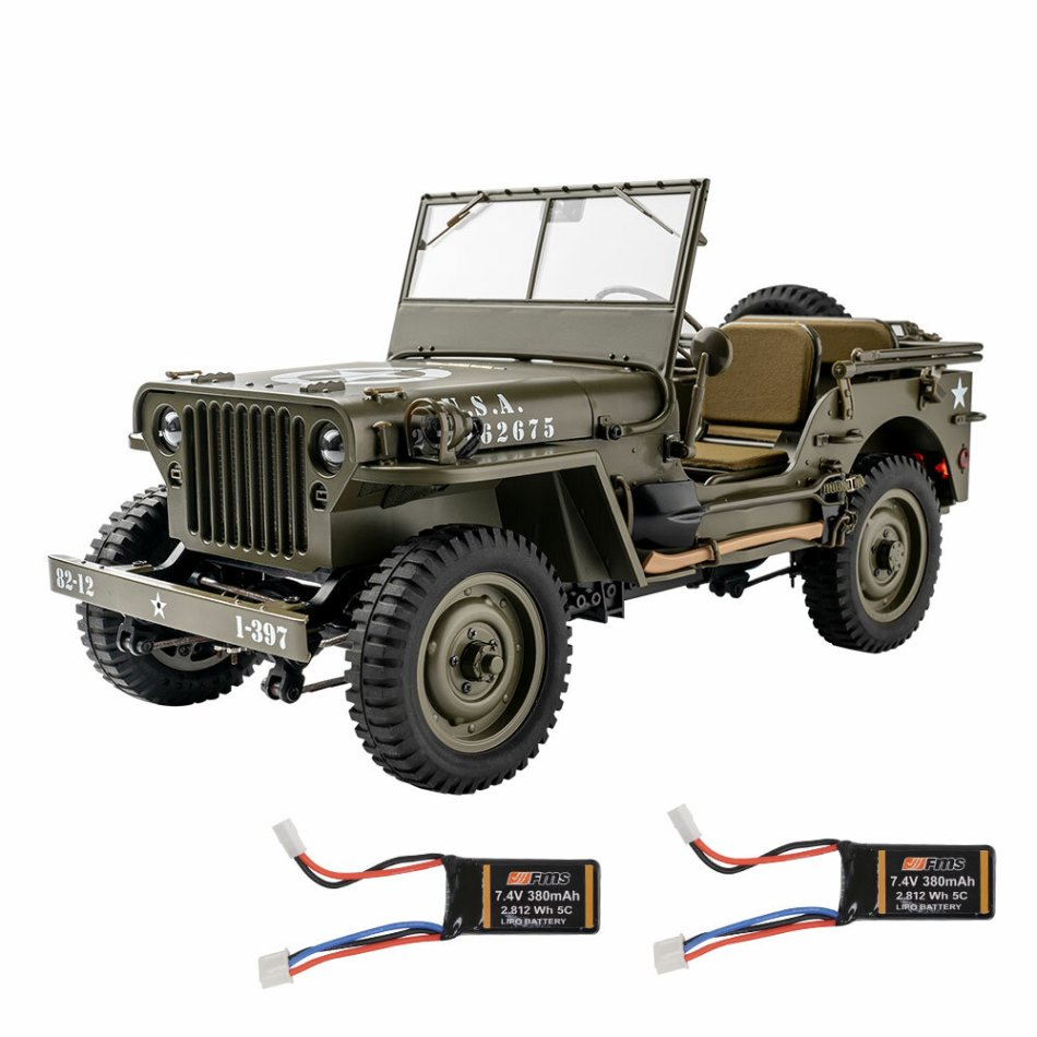 Eachine Rochobby 1941 Willys MB 1/12 RC Car with Two Batteries RC Off-Road Crawler RTR RC Army Truck with LED Lights 2-Speed Gearshift and Remote Control