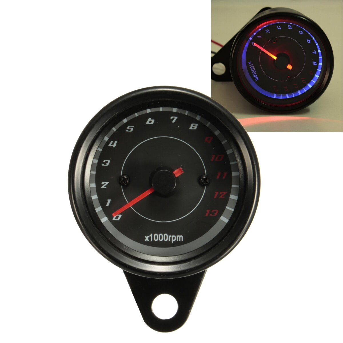 hight resolution of 13000 rpm motorcycle red blue led tachometer speedometer gauge universal cod