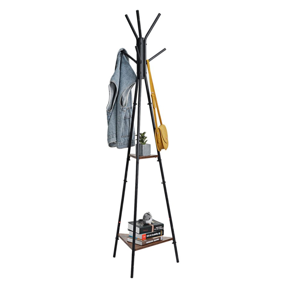 DouxLife® DL-CR01 Coat Rack Stand with 2 Shelves Vintage Hall Tree Free Standing Coat Rack Suitable for Clothes Hat Bag Arrangement